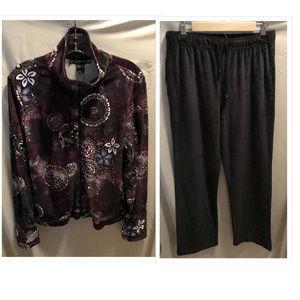 Size Large Mirror Image Velour Track Suit Set NWT
